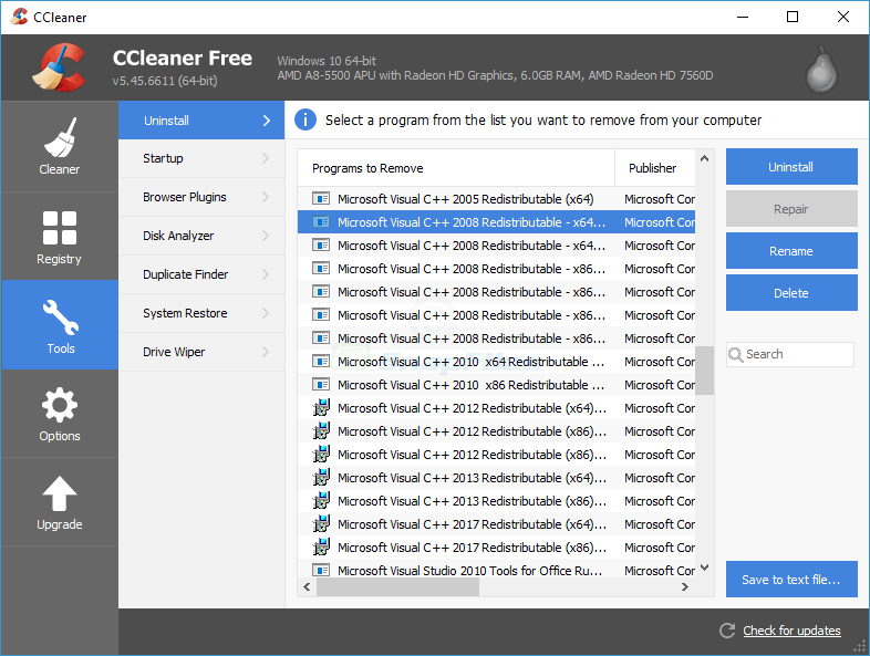 screenshot of CCleaner
