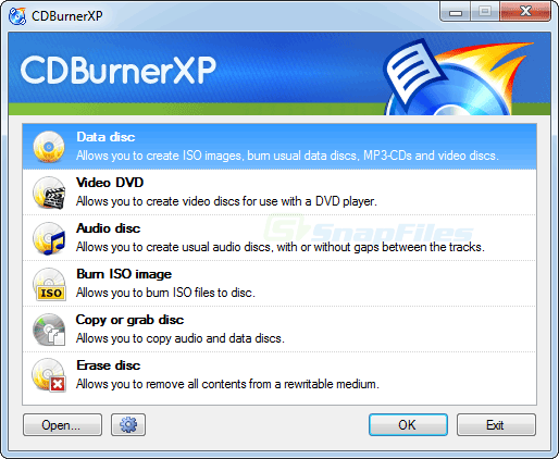 screenshot of CDBurnerXP