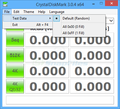 screenshot of Crystal DiskMark