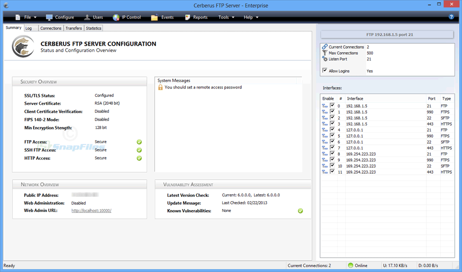 screen capture of Cerberus FTP Server