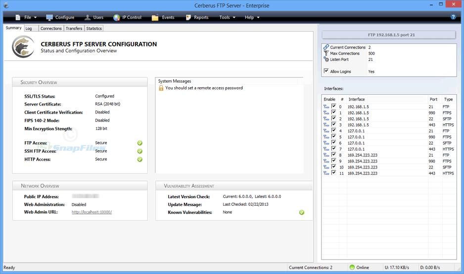 screen capture of Cerberus FTP Server