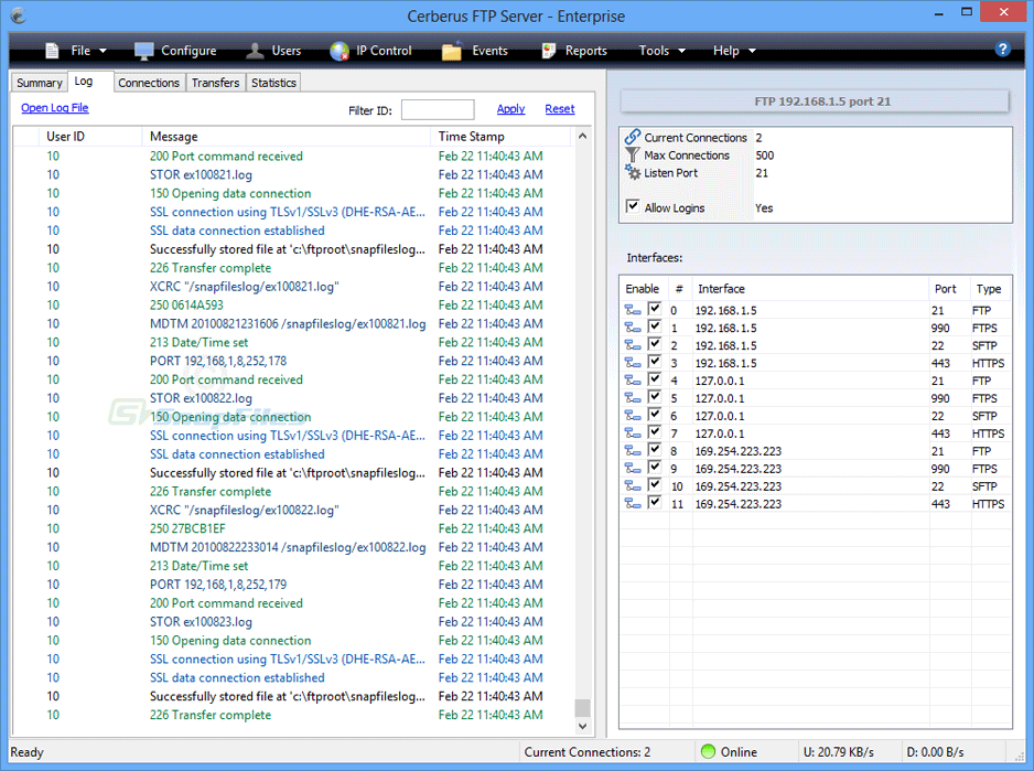 screenshot of Cerberus FTP Server