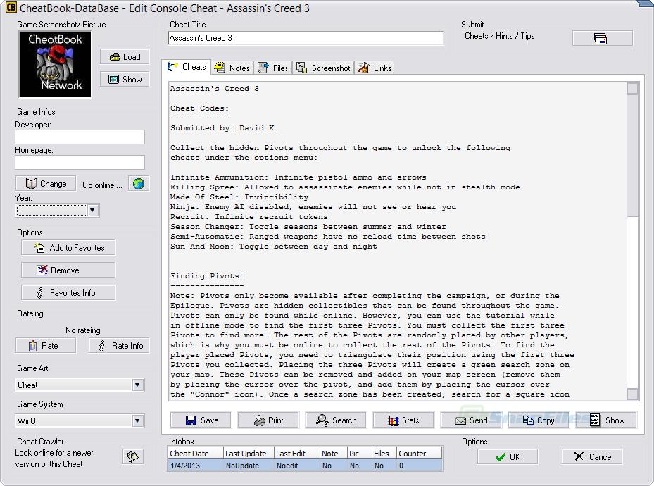 screenshot of CheatBook 2017