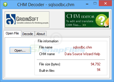 screen capture of CHM Decoder