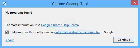 screenshot of Chrome Cleanup Tool