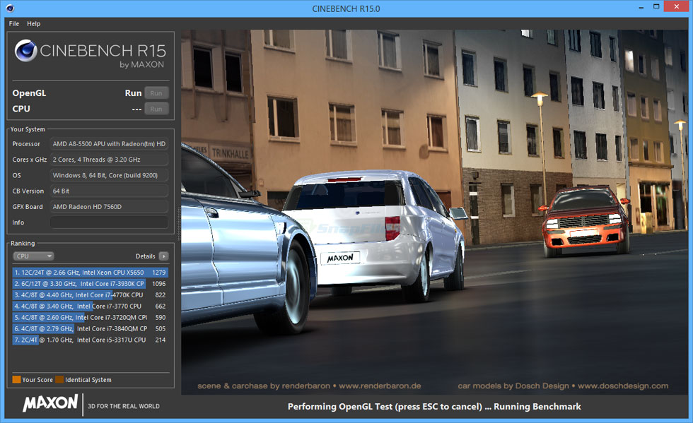 screen capture of MAXON CINEBENCH