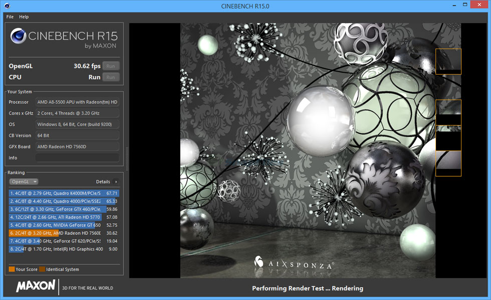 screenshot of MAXON CINEBENCH