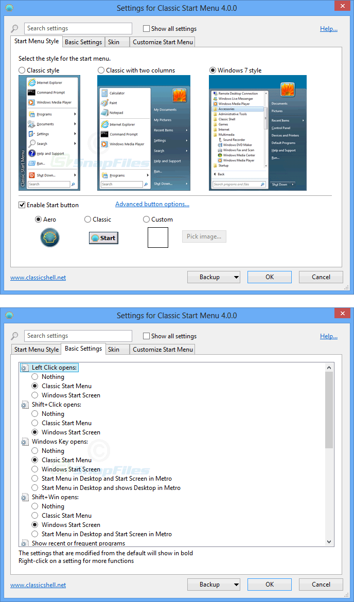 screenshot of Classic Shell