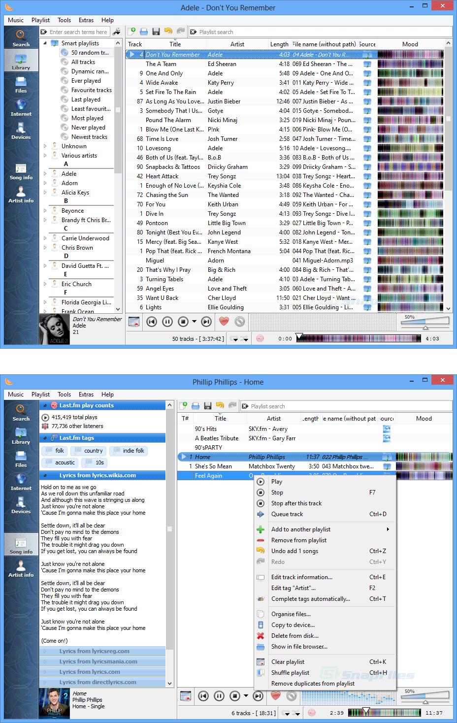 screenshot of Clementine Music Player