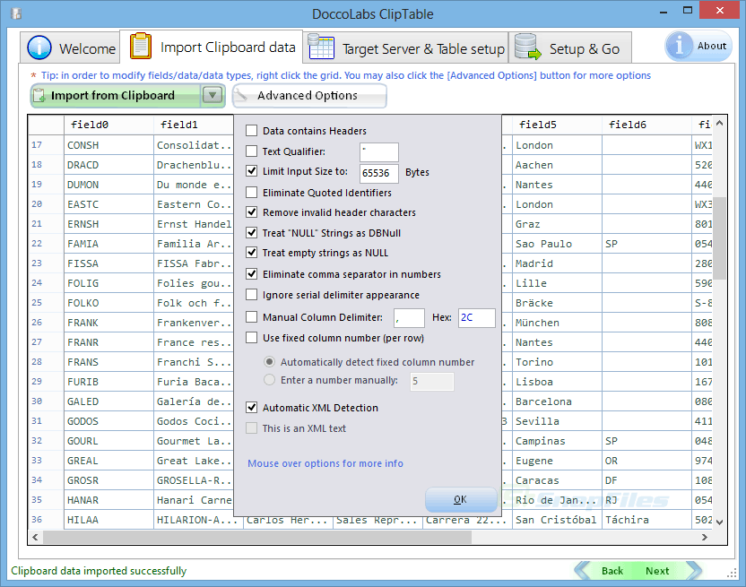screenshot of Doccolabs ClipTable