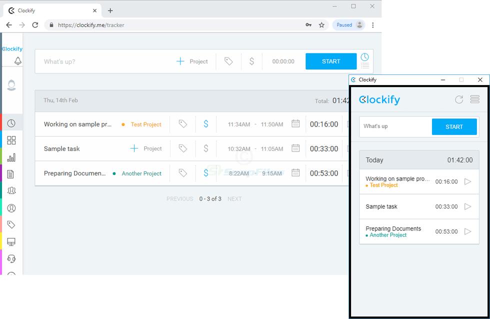 screenshot of Clockify