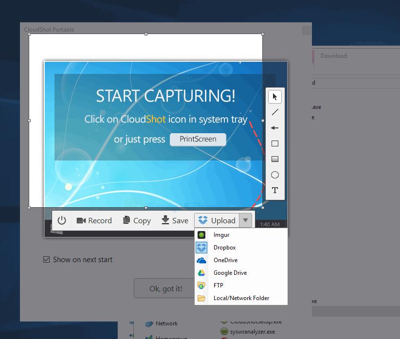 screen capture of CloudShot