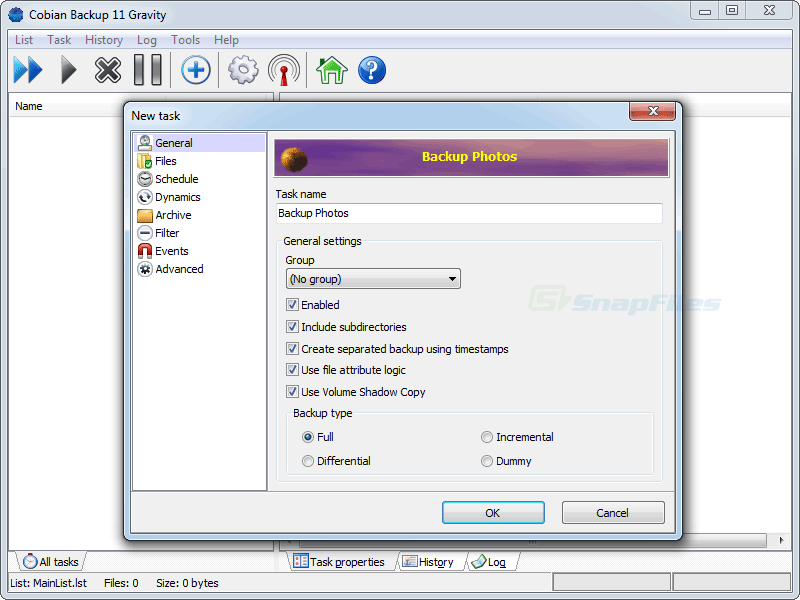 screenshot of Cobian Backup