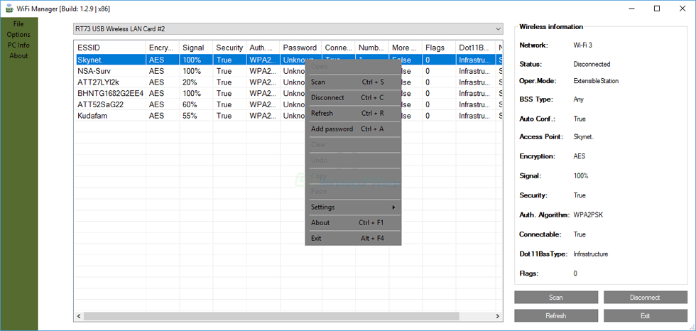 screen capture of CobraTek Wifi Manager