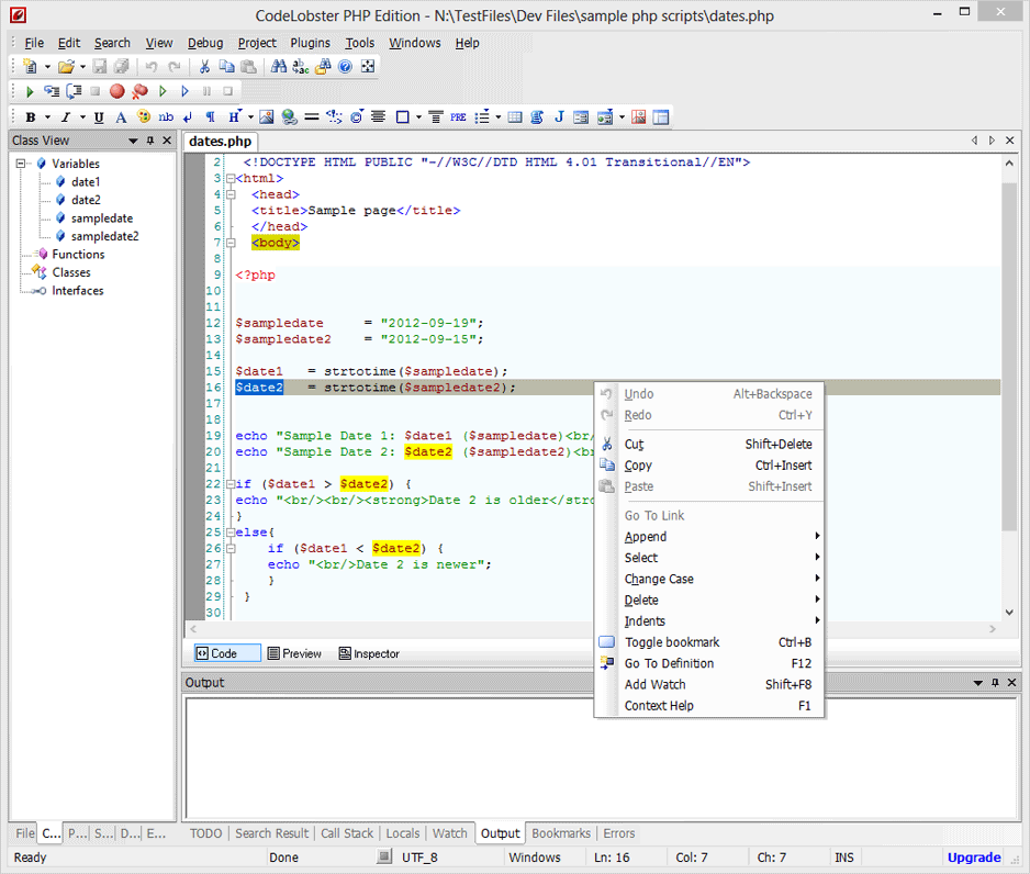screen capture of CodeLobster PHP Edition