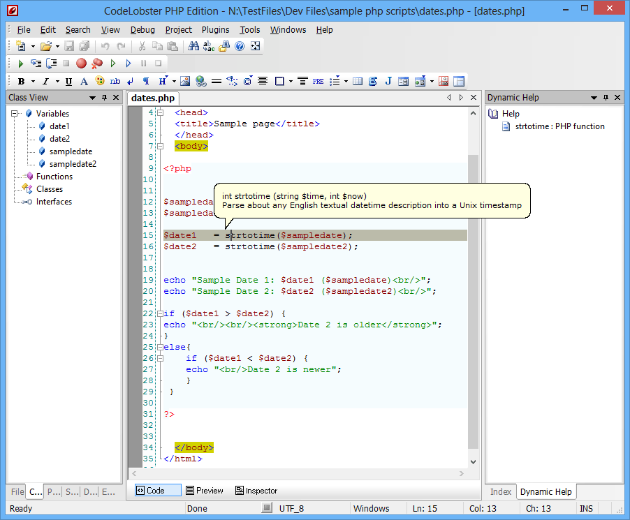 screenshot of CodeLobster PHP Edition