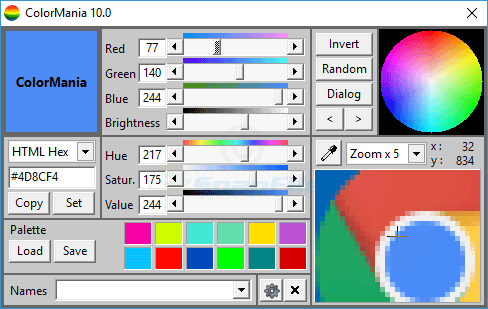 screen capture of ColorMania