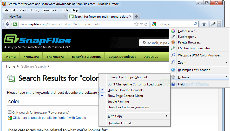screen capture of ColorZilla