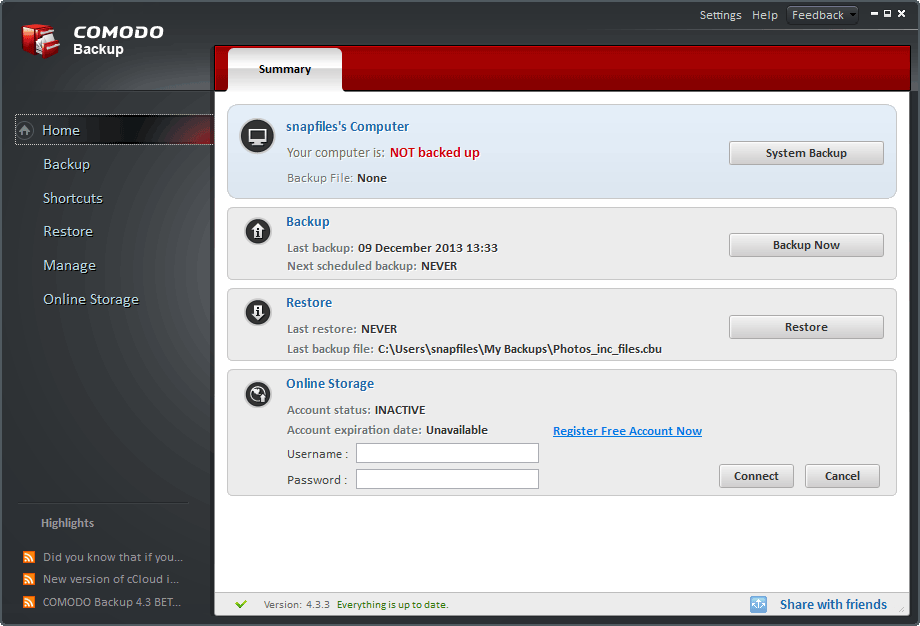 screen capture of Comodo Backup