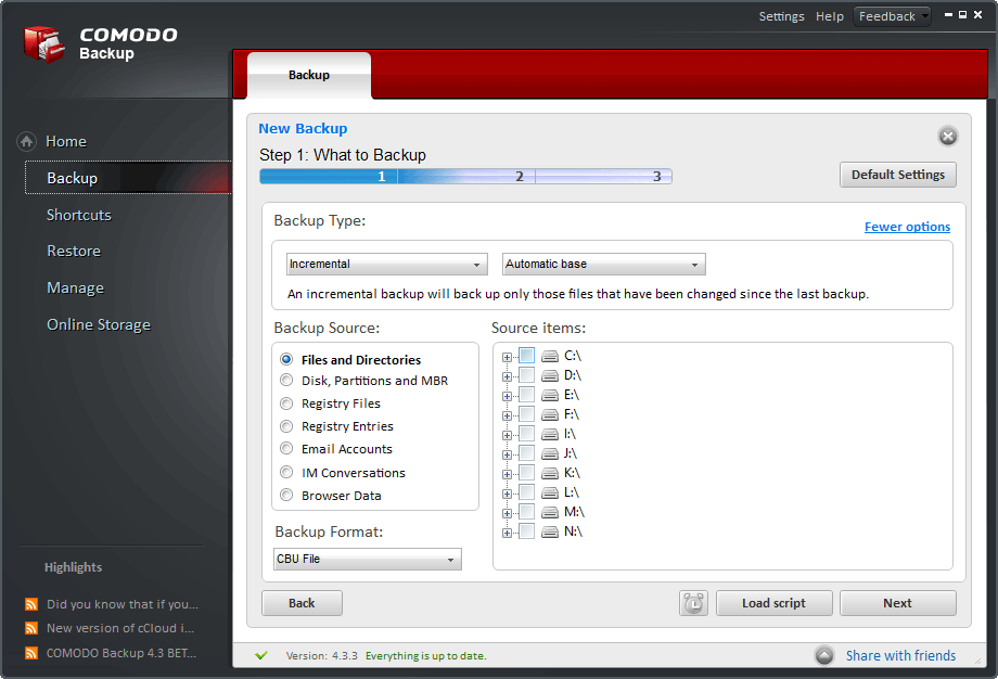 screenshot of Comodo Backup