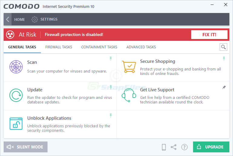 screenshot of Comodo Internet Security