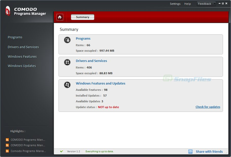 screen capture of Comodo Programs Manager