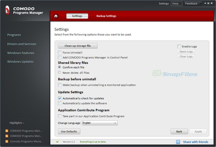 screenshot of Comodo Programs Manager