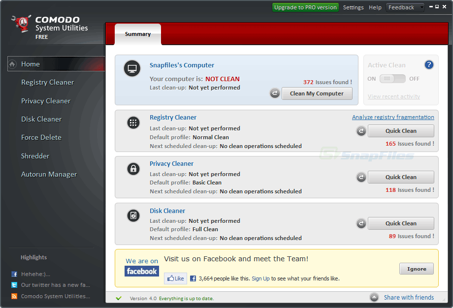 screen capture of Comodo System Utilities