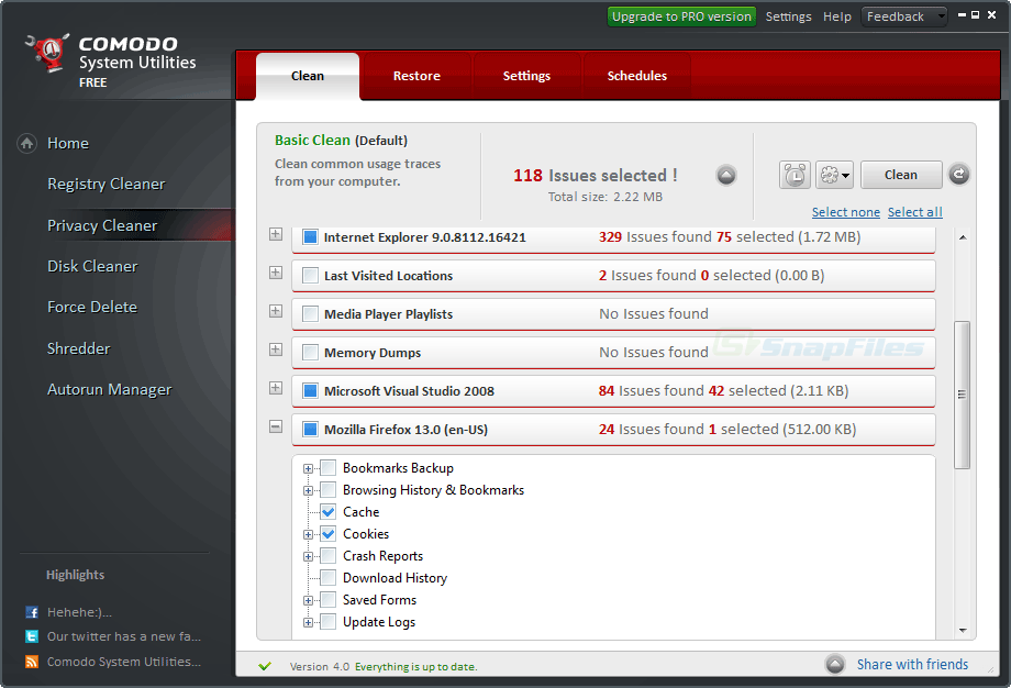 screenshot of Comodo System Utilities