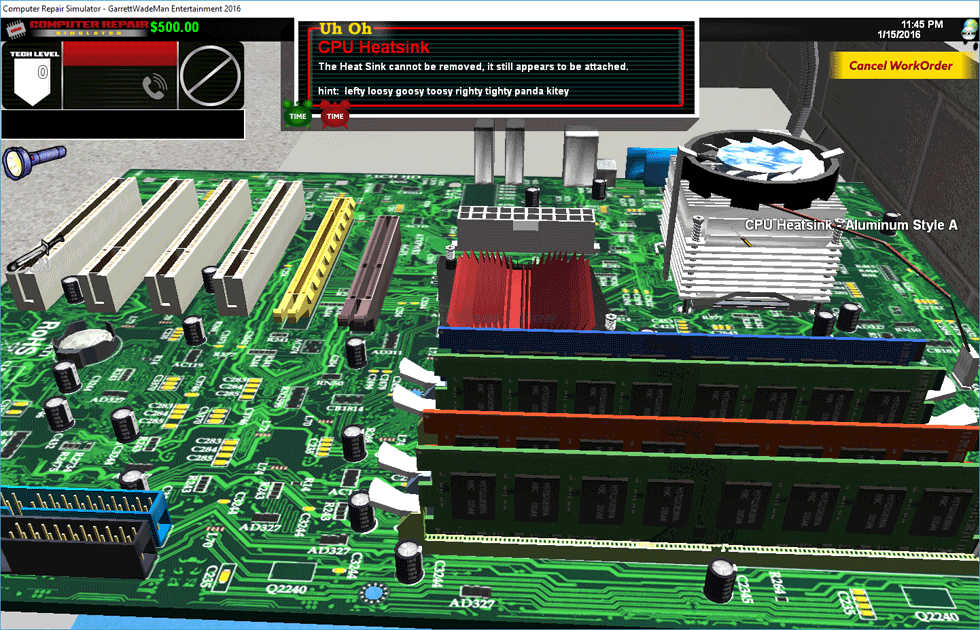 screen capture of Computer Repair Simulator