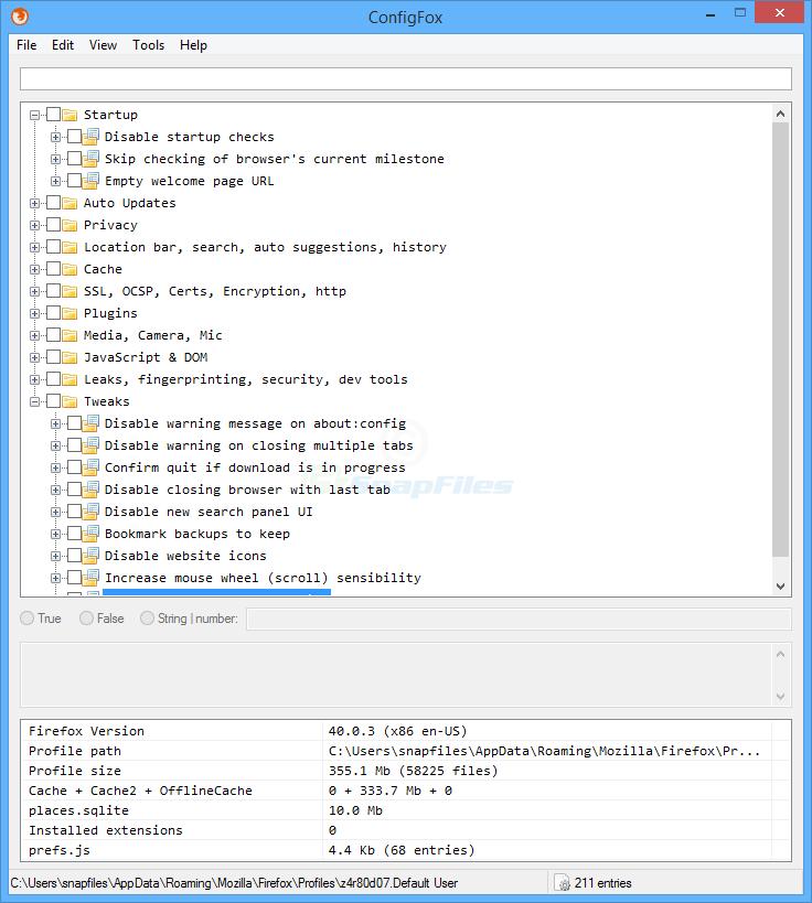 screen capture of ConfigFox