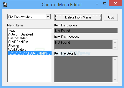 screen capture of Context Menu Editor