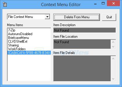 screen capture of Context Menu Editor