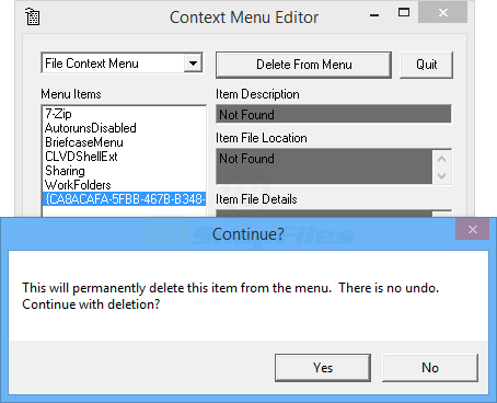 screenshot of Context Menu Editor