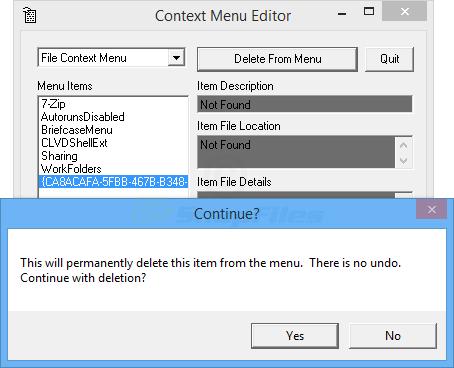 screenshot of Context Menu Editor