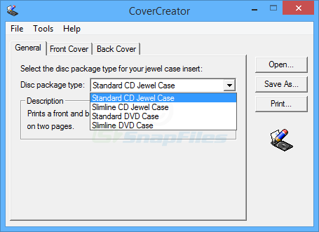 screen capture of CoverCreator
