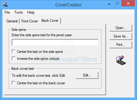 screenshot of CoverCreator
