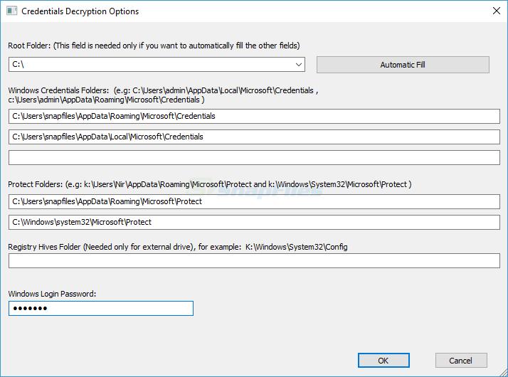 screenshot of CredentialsFileView