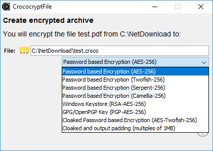 screen capture of CrococryptFile
