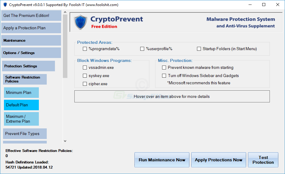 screenshot of CryptoPrevent