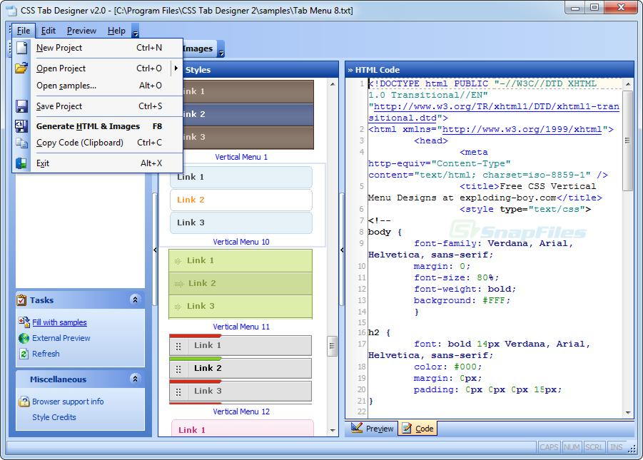 screenshot of CSS Tab Designer