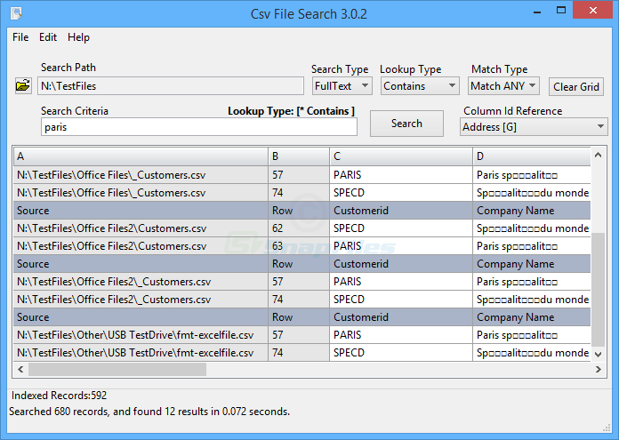 screen capture of CsvFileSearch