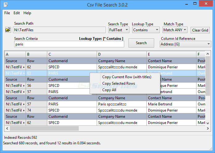 screenshot of CsvFileSearch