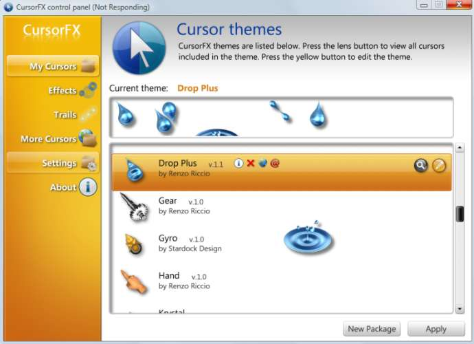 screen capture of CursorFX