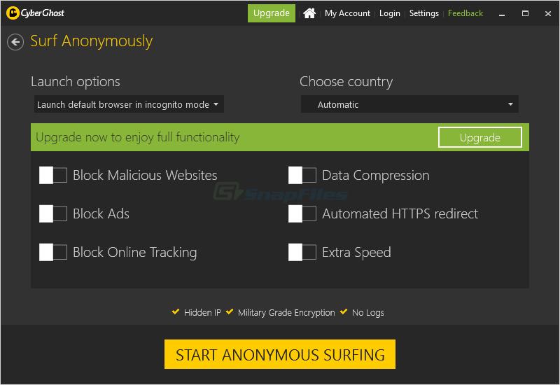 screenshot of CyberGhost VPN