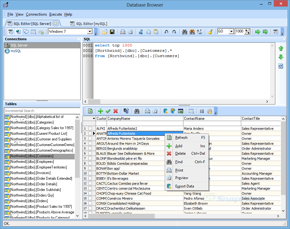 screen capture of Database Browser Portable