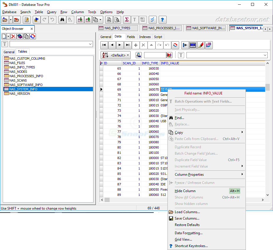 screenshot of Database Tour Pro