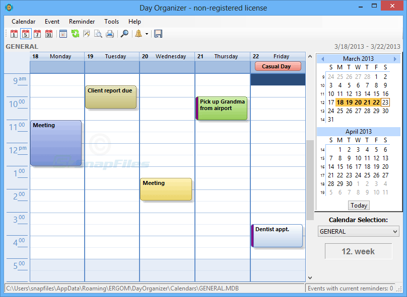 screen capture of Day Organizer