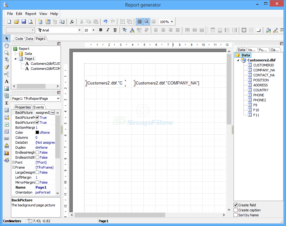 screenshot of DBF Manager