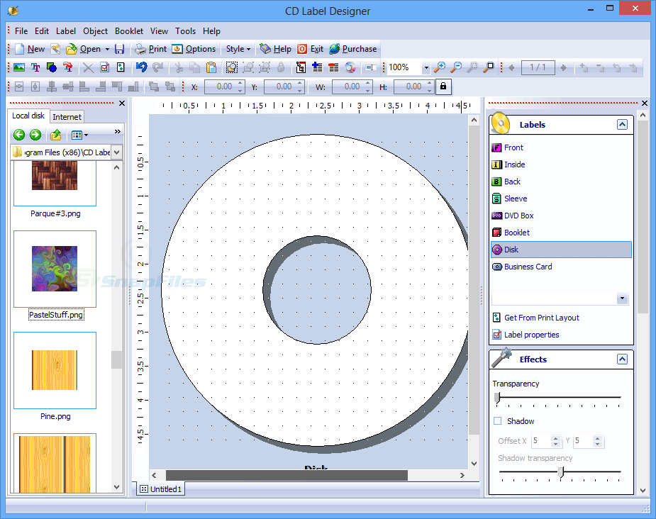 screen capture of CD Label Designer